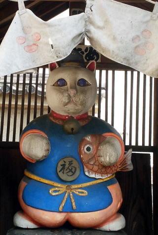 青梅市の住吉神社 恵比寿猫