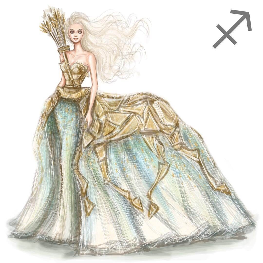 09-Sagittarius-Shamekh-Bluwi-Zodiac-Haute-Couture-Exquisite-Fashion-Drawings-www-designstack-co