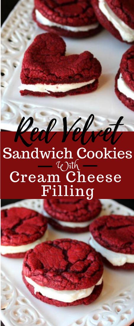 Red Velvet Sandwich Cookies with Cream Cheese Filling #redvelvet