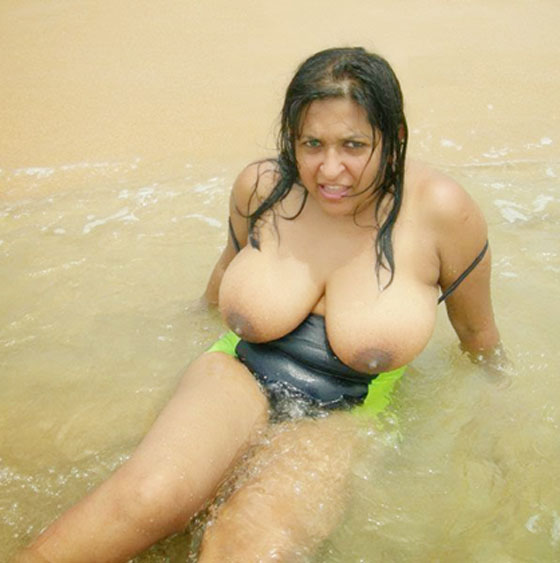 Indian Aunty On Beach