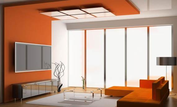 Kombinasi Warna Plafon Ruang Tamu Putih Orange