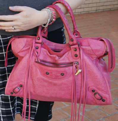 away from blue balenciaga 2008 sorbet pink city bag slouchy worn on arm