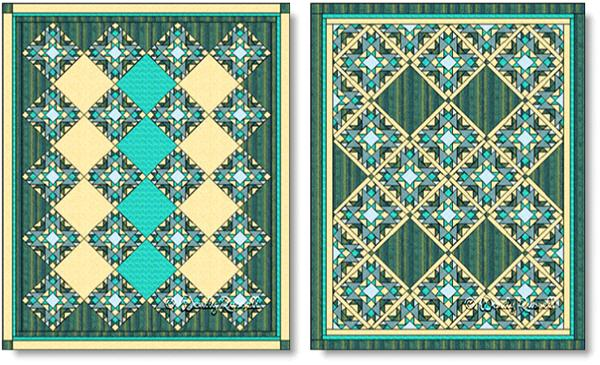 Quilts designed using the San Diego quilt block - images © Wendy Russell
