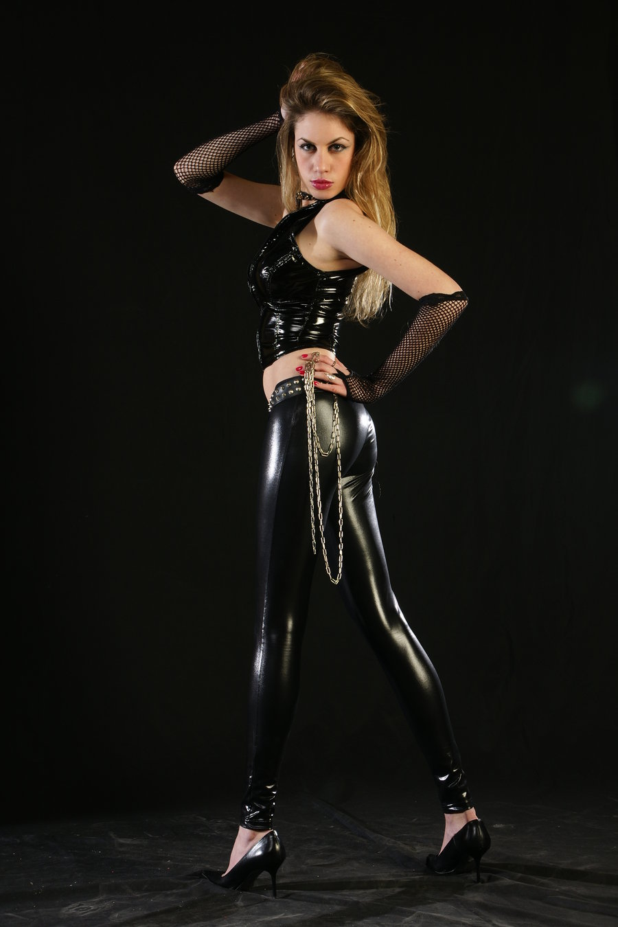 Female in latex