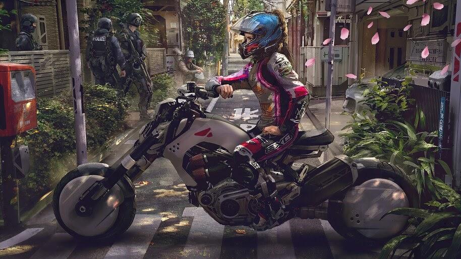 Motorcycle, Cyberpunk, Sci-Fi, 4K, #6.728