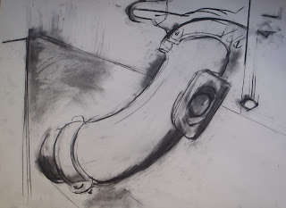 Ceiling pipe - charcoal on paper