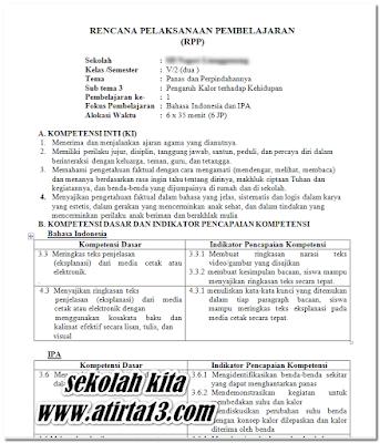 RPP SD MI Kelas 5 Tema 6 Kurikulum 2013