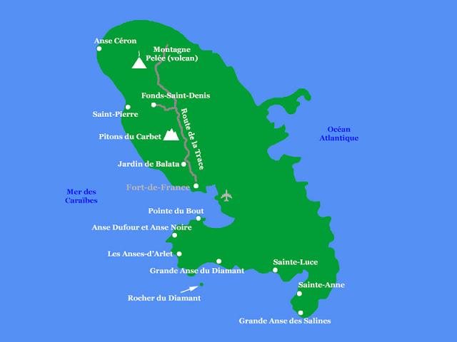 Carte de la Martinique avec les lieux décrits dans cet article