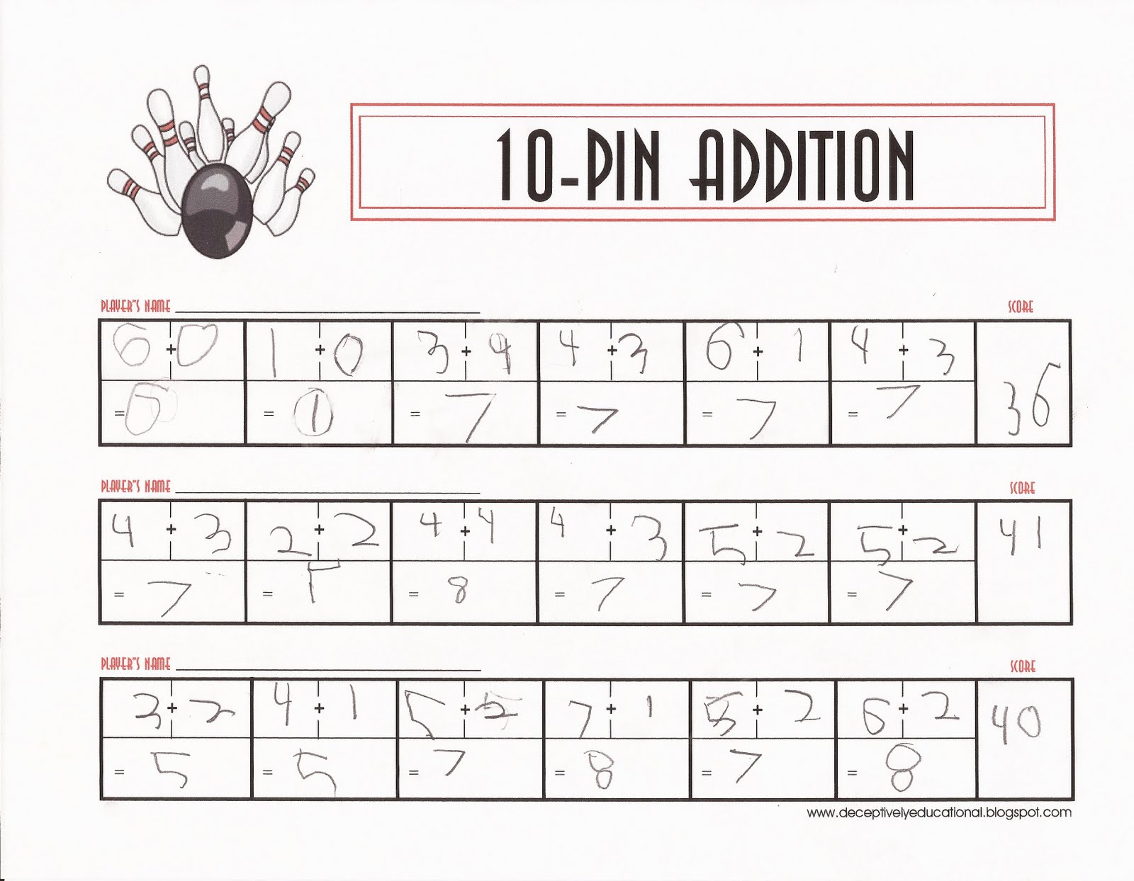 Bowling Score Sheet | Relentlessly Fun Deceptively Educational 10 Pin Addition Math