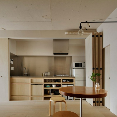 Tinuku Desain Interior Minorpoet Semikan Dapur Apartemen Dengan Pintu Lipat