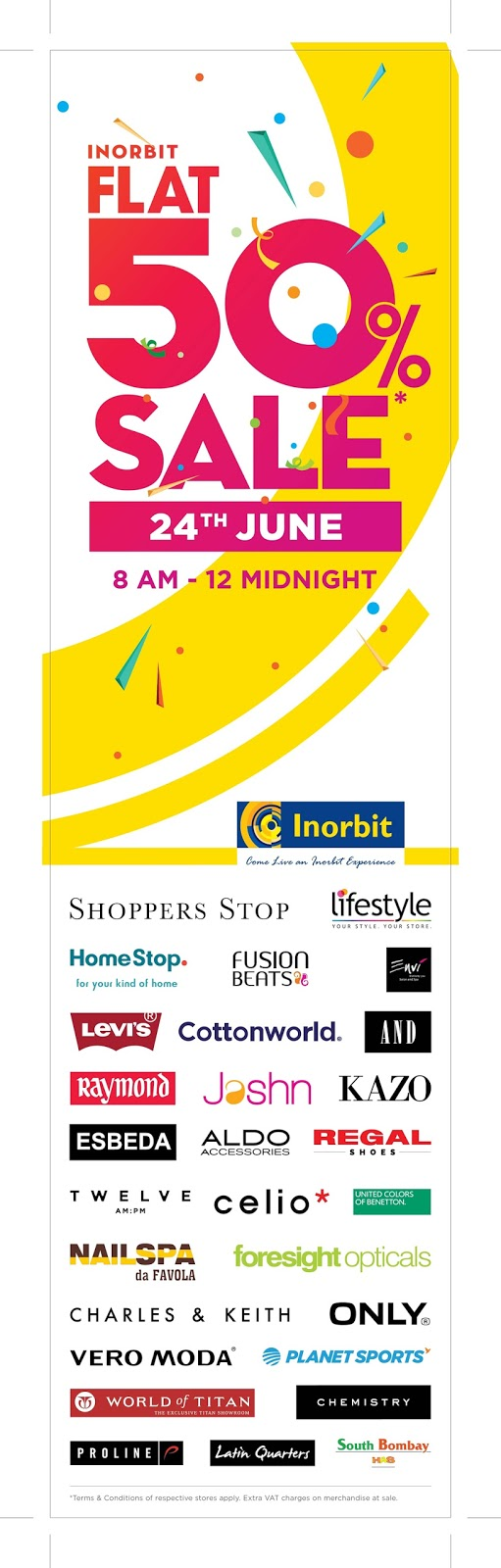 BIGGEST SALE OF THE SEASON ARRIVES! FLAT 50% OFF ON THE BEST OF THE BRANDS AT INORBIT MALL