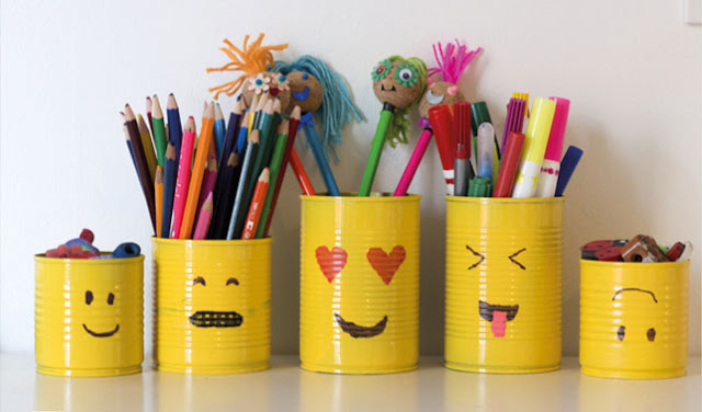 cara membuat tempat pensil dari kaleng bekas