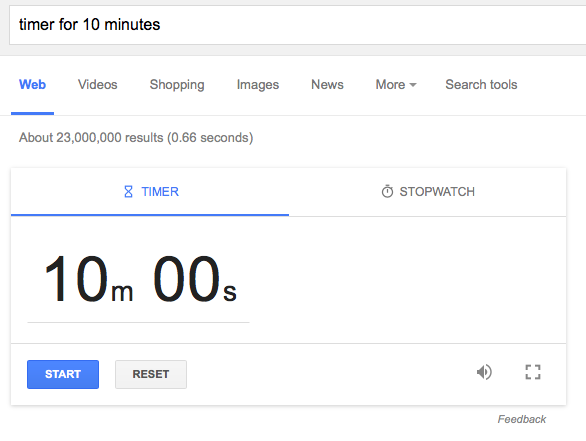 Google's Timer and Stopwatch Card