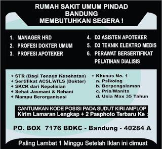 Karir Lowongan Kerja Rumah Sakit Pindad Bandung Terbaru  2019