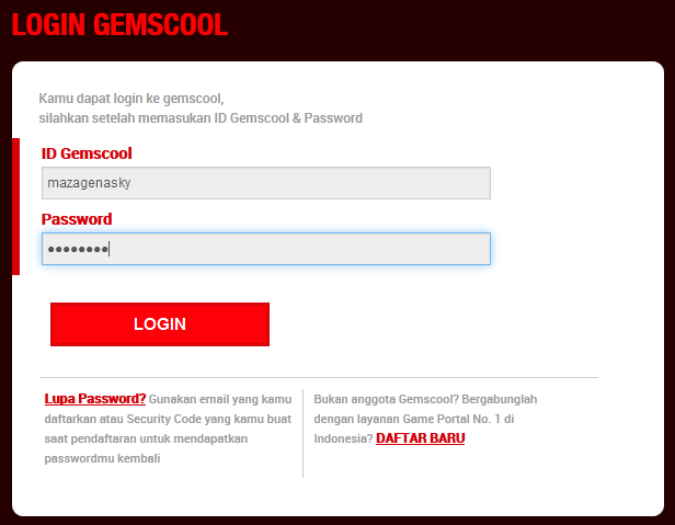 Cara Login dengan User Name dan Password Gemscool