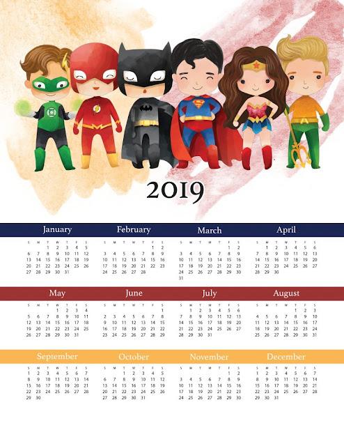 Calendario 2019 de la Liga de la Justicia para Imprimir Gratis.