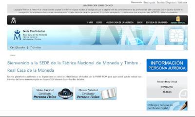 Pantallazo de la FNMT - certificados