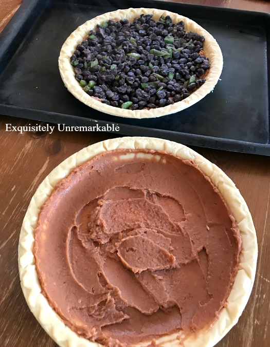 Easy taco pie recipes with meat or black beans in pie crusts
