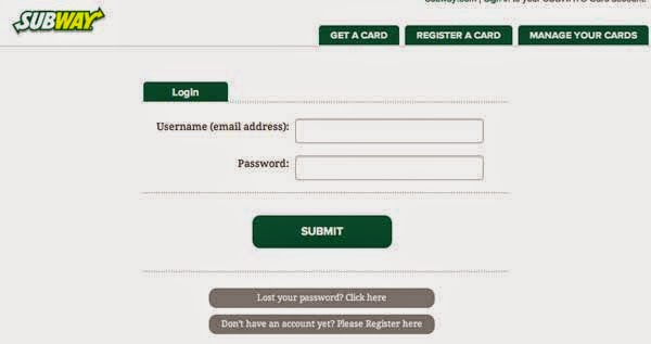 Subway Card Login Canada