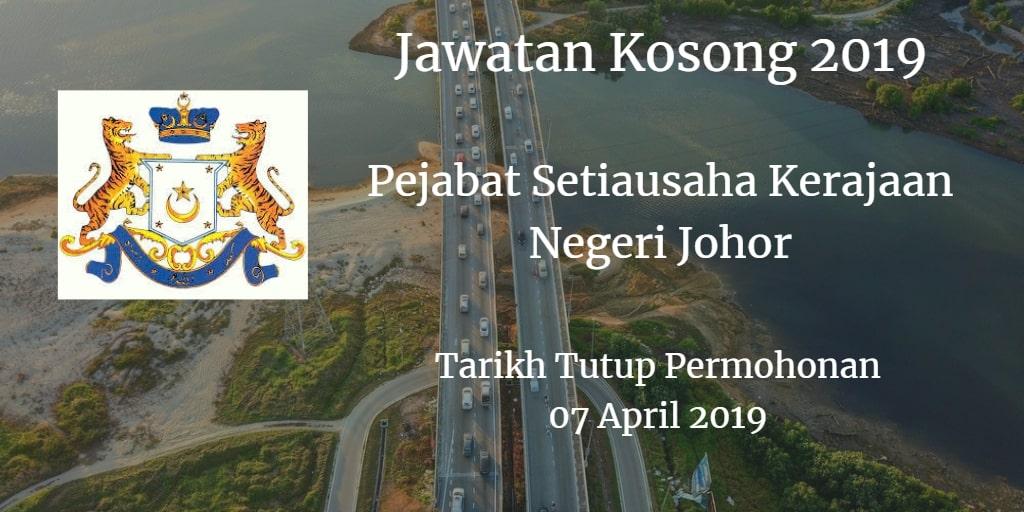 Jawatan Kosong Pejabat Setiausaha Kerajaan Negeri Johor 07 April 2019
