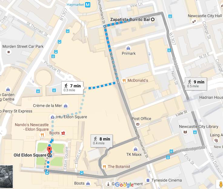 What's On at Screen on the Green in Newcastle plus places for take-out lunch nearby - Zapatista Ridley Place map