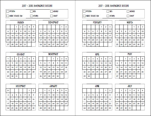 Attendance Planner Weekly Attendance Sheet Template In Ms Excel - attendance calendar template