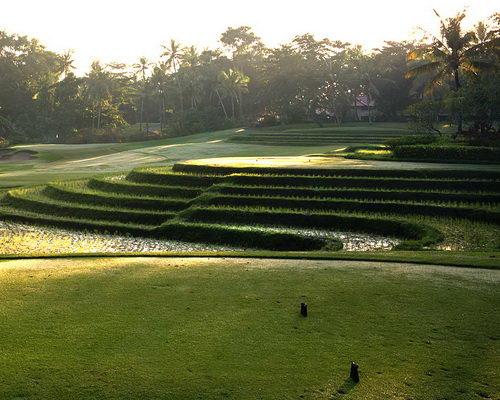 www.Tinuku.com Layout design Nirwana Bali Golf Club seascapes, Tanah Lot temple and terraced rice fields