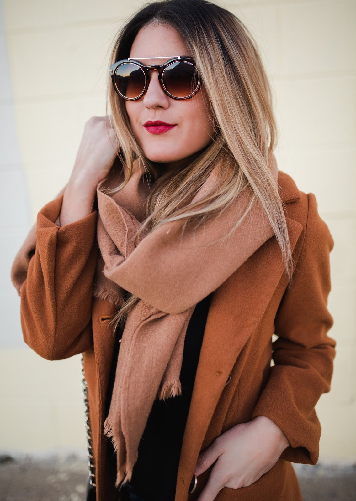 Red Lips with Camel - My Cup of Chic