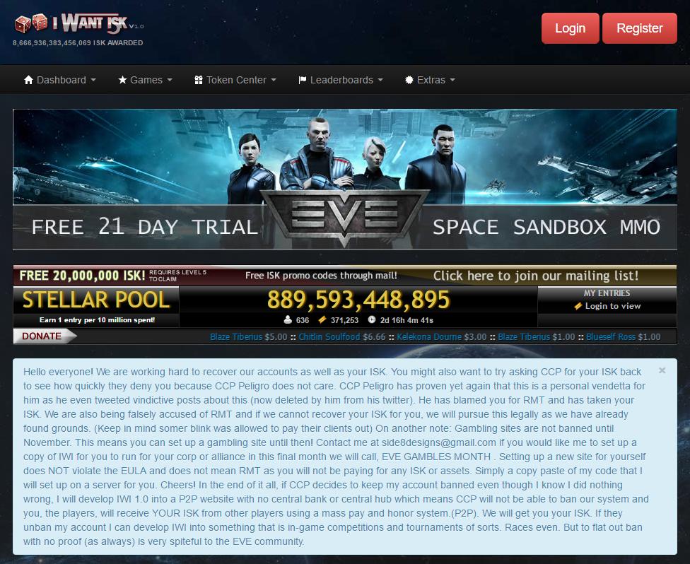 EVE Online Gambling Sites Major Players