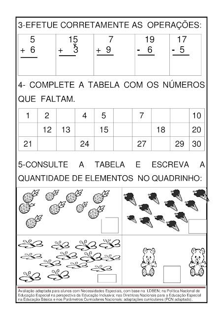 atividades adaptadas de matemática para 5 ano