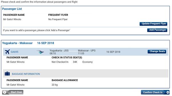 Langkah ke-3 : Update data penumpang dan memilih kursi