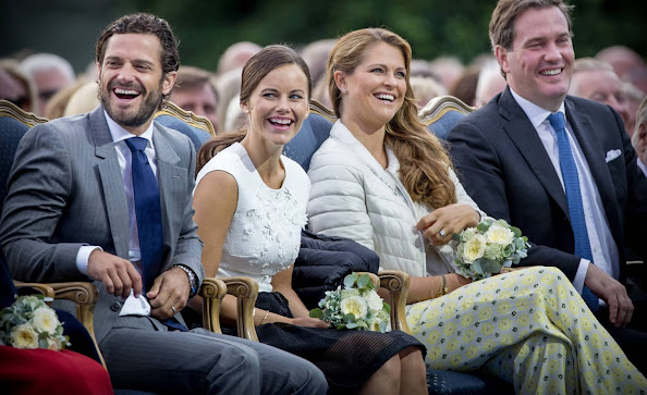 Prince Carl Philip, Princess Sofia, Princess Madeleine and Chris ONeill of Sweden attend the Victoria Day celebration at the sports arena in Borgholm, Sweden