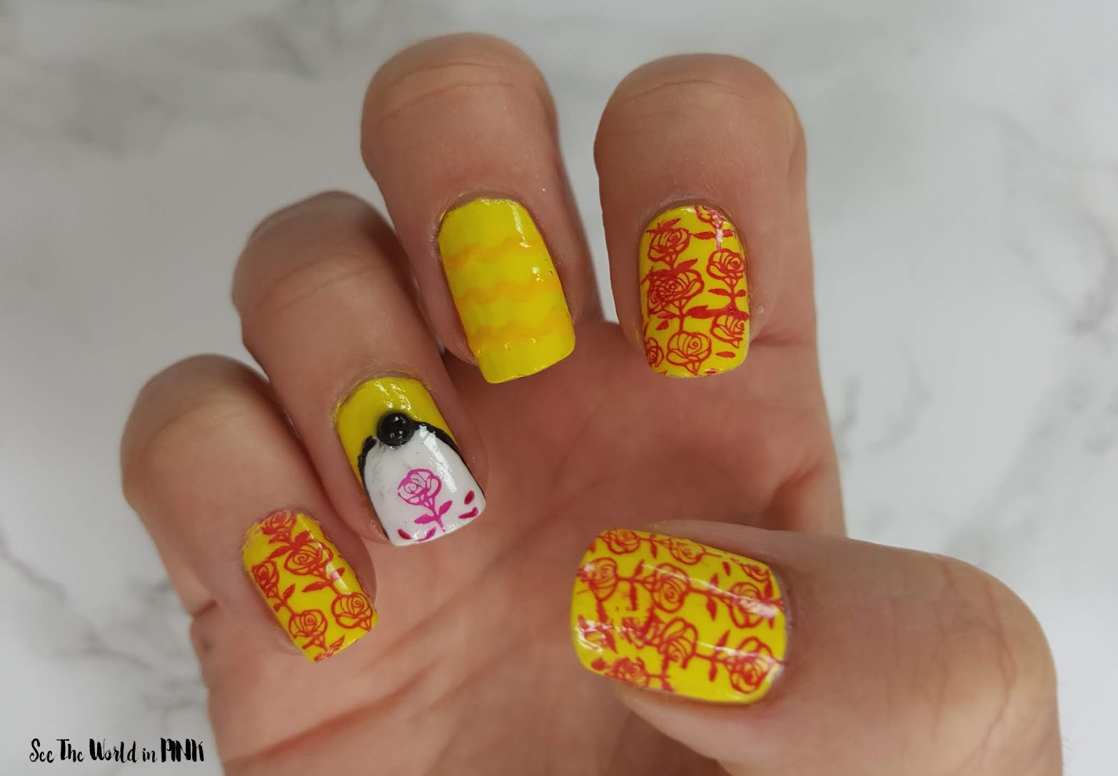 "Manicure Monday ""Inspired By"" Beauty and the Beast ~ Stamping and Nail Art"