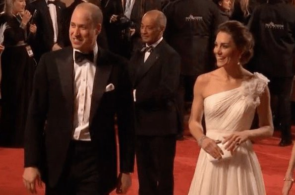 Kate Middleton, the Duchess of Cambridge wearing Princess Diana's pearl earrings, ALEXANDER MCQUEEN One-shoulder crinkled silk-chiffon and satin gown