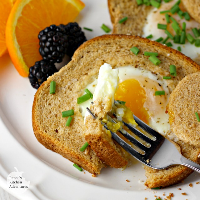 Baked Eggs in a Basket   by Renee's Kitchen Adventures - Easy recipe for baked eggs in a basket aka eggs in hole perfect for breakfast or brunch