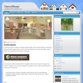 SweetHome blogger template. template blogspot magazine style.