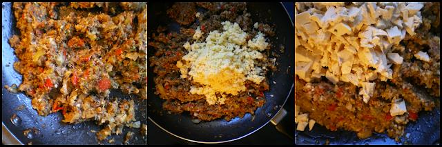 Albóndigas vegetarianas con crema de puerros, elaboración del relleno