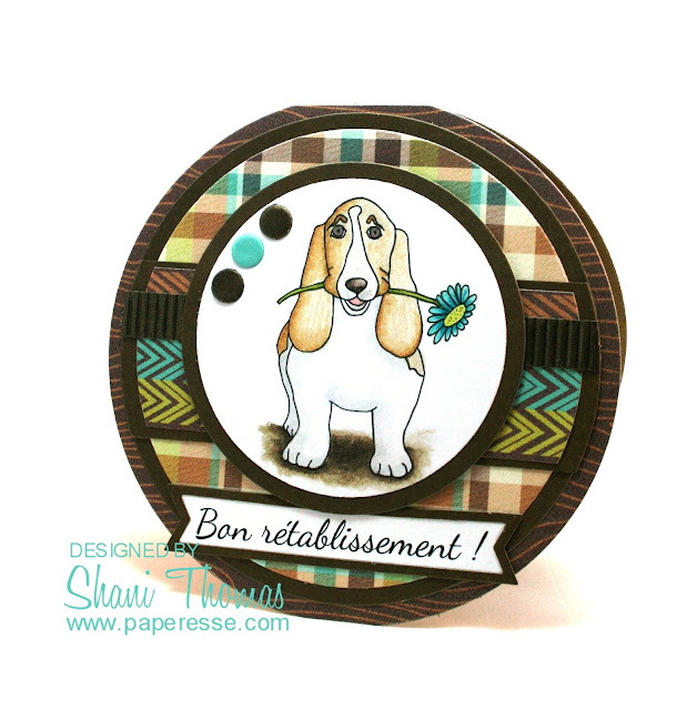 Masculine Basset Hound round get well card, featuring Dearie Dolls free Basset Hound with Flower digital stamp, by Paperesse.