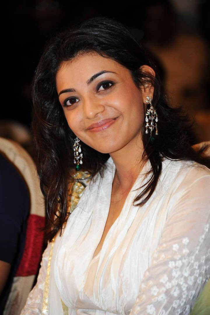 Actress Kajal Agarwal Facce Close Up Photos In White Dress