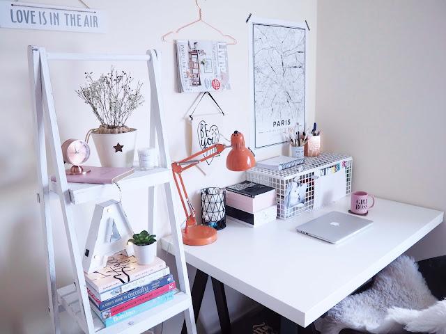desk space with shelf