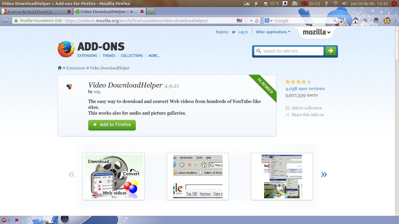 downloadhelper pour firefox 57