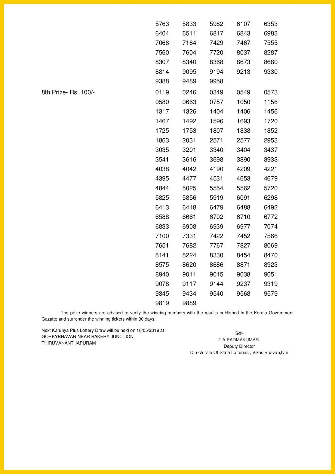 05 >> Kerala Lottery Result 09 05 2019 Karunya Plus Lottery Results Kn