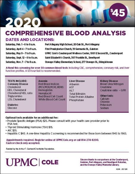 2-1 Comprehensive Blood Analysis, Port Allegany