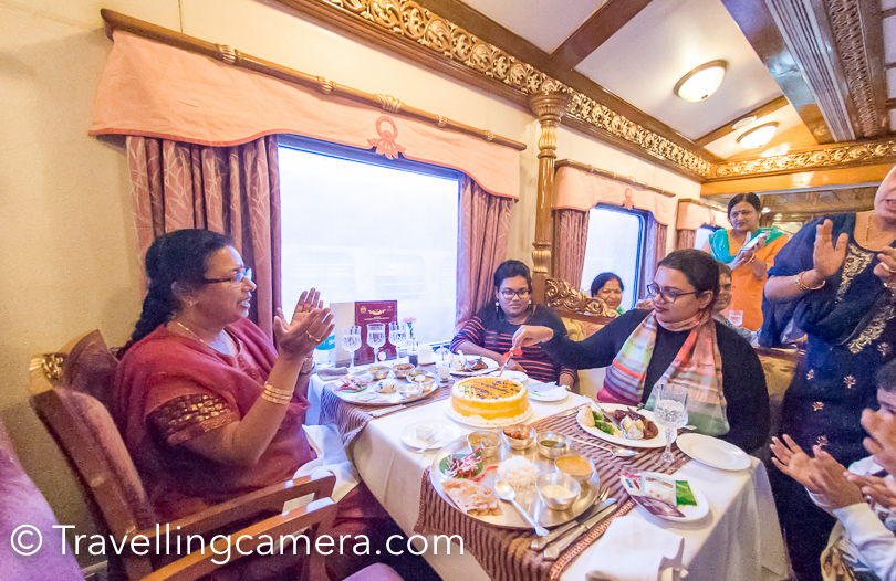 One of the co-travellers had birthday so chef had made a beautiful cake for the girl. All of us celebrated the birthday on Golden Chariot, the luxury train.