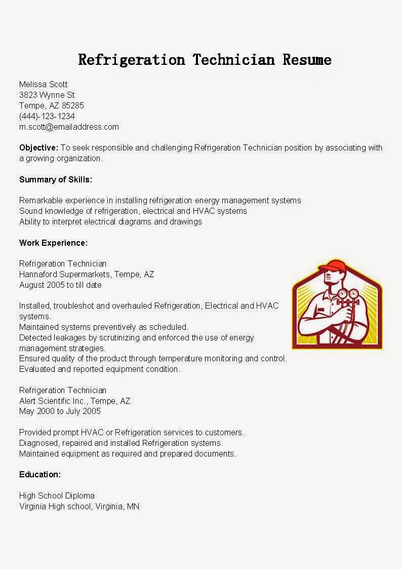 resume samples  refrigeration technician resume sample