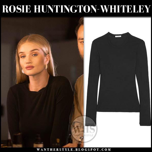 Rosie Huntington-Whiteley in black james perse top with gold crystal hoop celine earrings model style january 28