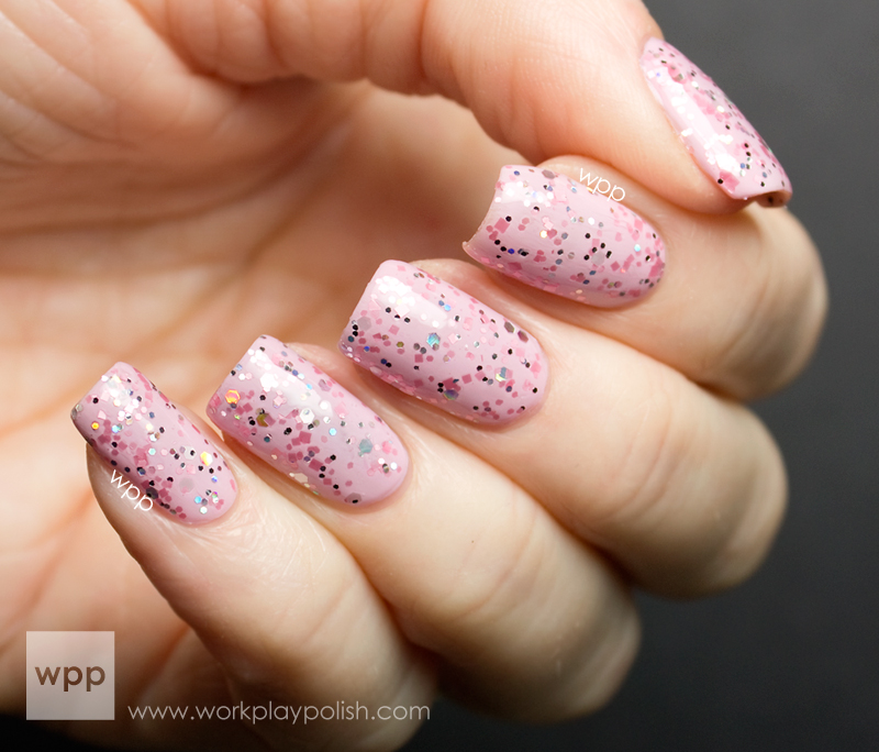 ellagee I've Got a Crush on You over OPI Panda-Monium Pink