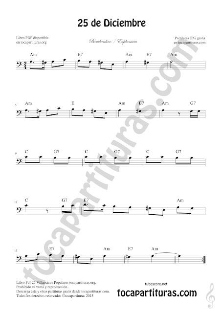 Bombardino Partitura de 25 de Diciembre Villancico de Navidad Sheet Music for Euphonium Christmas Carol Music Scores