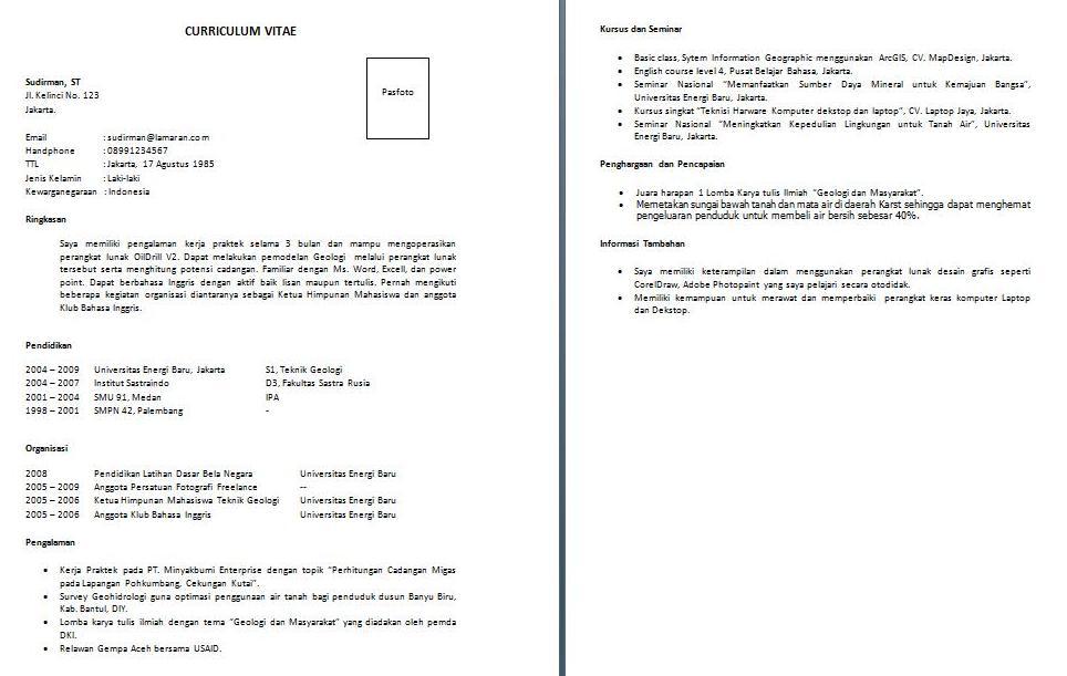 Contoh Cv Curriculum Vitae Bahasa Inggris Semua Contoh