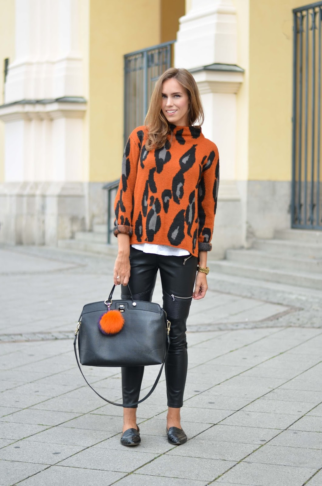 kristjaana mere prefall leopard cardigan leather pants outfit